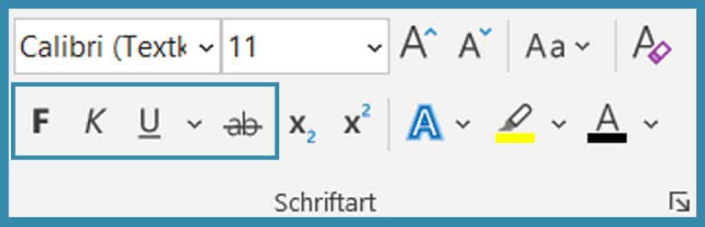 Screenshot, der Möglichkeiten der Textauszeichnung in MS Word zeigt