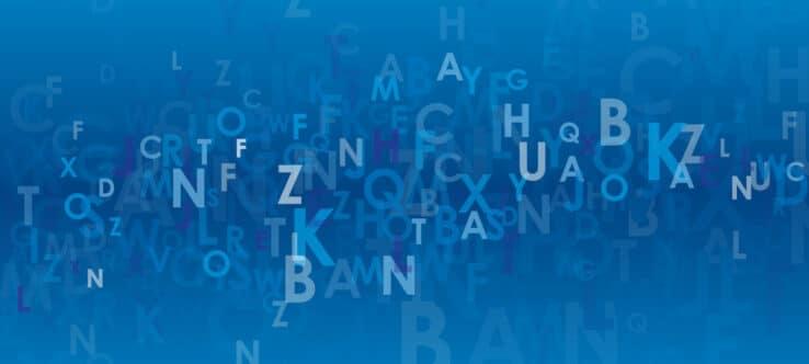 Bild, das Buchstaben in verschiedenen Formen und Größen zeigt