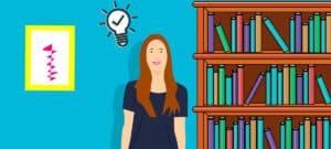 Grafik von einer Frau, die neben einem Bücherregal steht