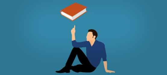 Grafik von einem Mann, der ein Buch auf seinem Finger balanciert