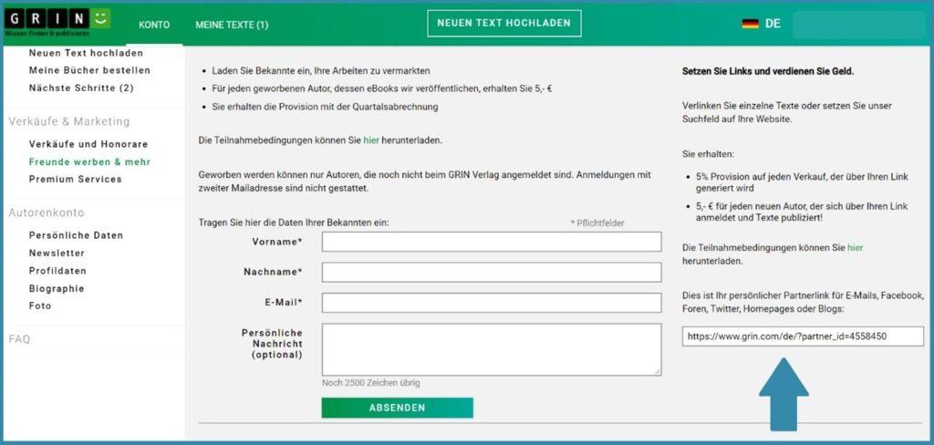 Screenshot aus dem GRIN-Account, auf dem man Informationen zum Partnerprogramm sieht